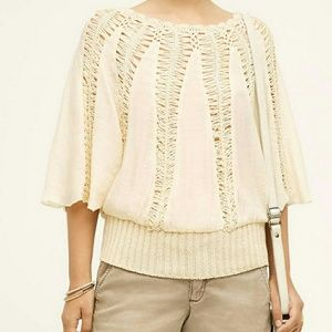 Anthropologie Tiny Sweetfern Crocheted Ivory Top